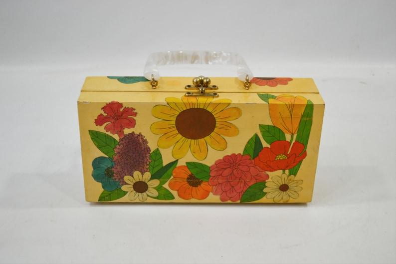 1960s Yellow Wooden Flower Decoupage Purse image 0