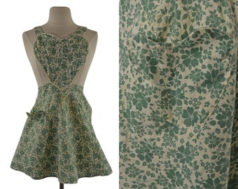 Vintage Green and Cream Floral Linen Heart Apron