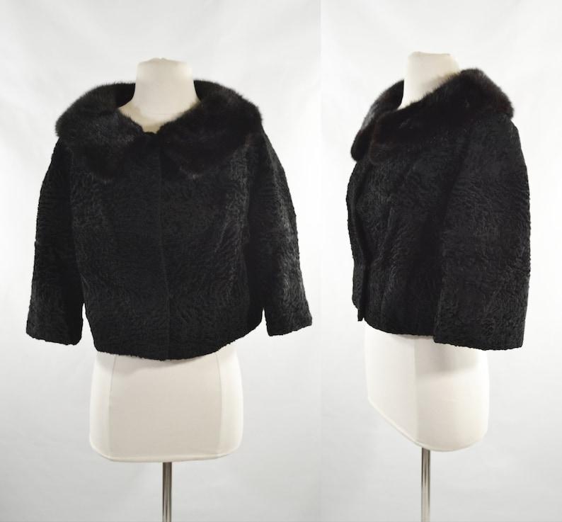 Vintage Black Velvet Coat with Mink fur collar by Saks Fifth image 0