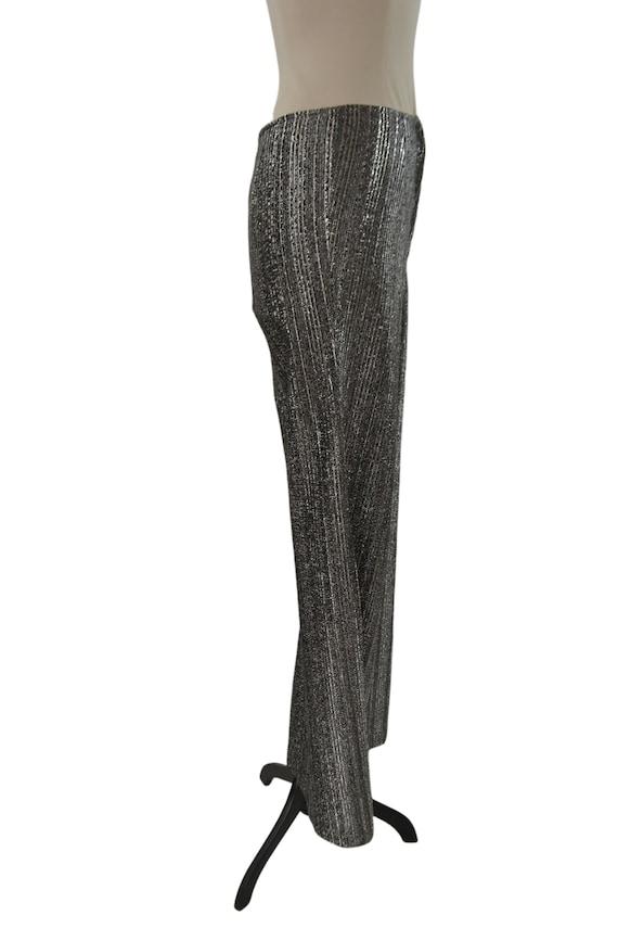1970s Black and Silver Lurex Metallic Wide Leg Pa… - image 6