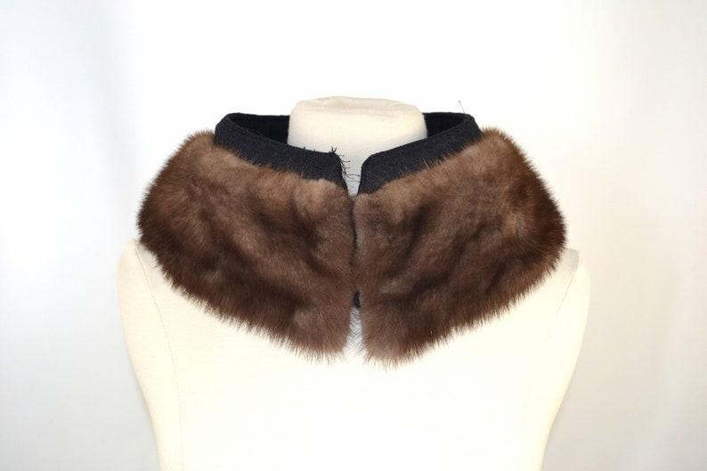 Vintage Medium Brown Mink Real Fur Collar Coat Fur Collar image 0