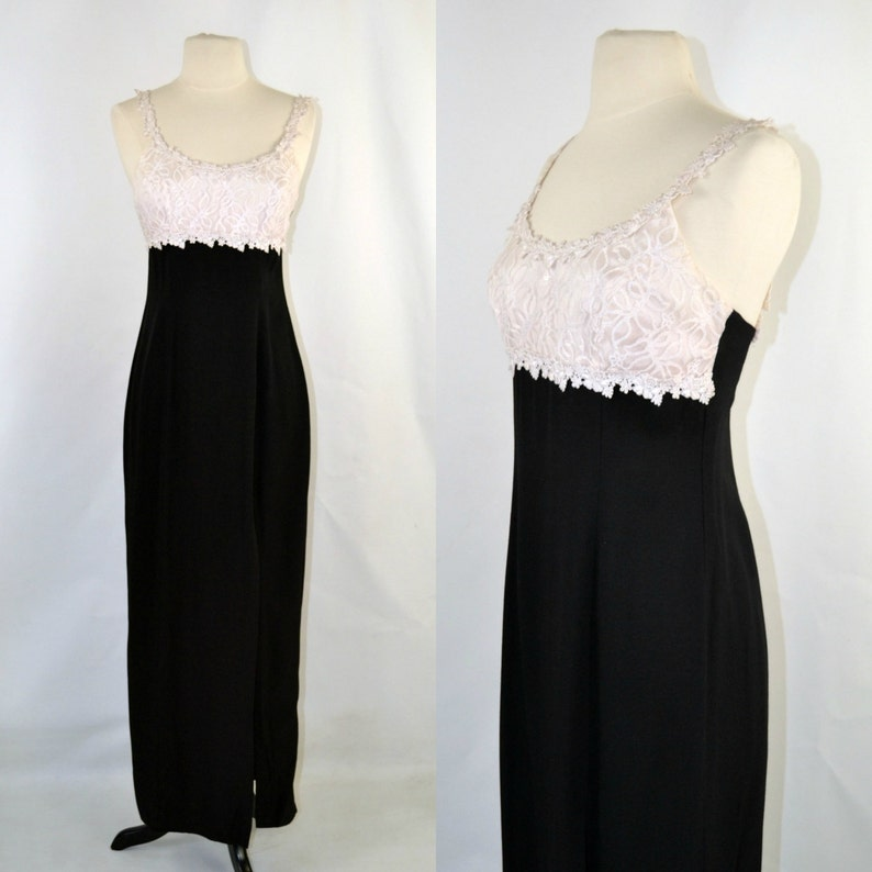 1980s Slinky Black and White Spaghetti Strap Formal Dress by image 0