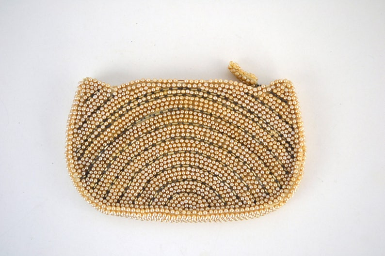 Vintage Small Champagne Bead Evening Bag Clutch/Coin Purse image 0