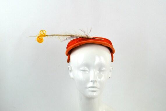 Vintage 1950s Orange Velvet Fascinator Calot Feath