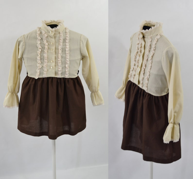1970s/1980s Girls Beige and Brown Ruffled Dress by Sears Size image 0