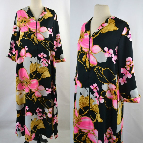 1980s Black Kimono Robe, Large Pink, Gold and Whit