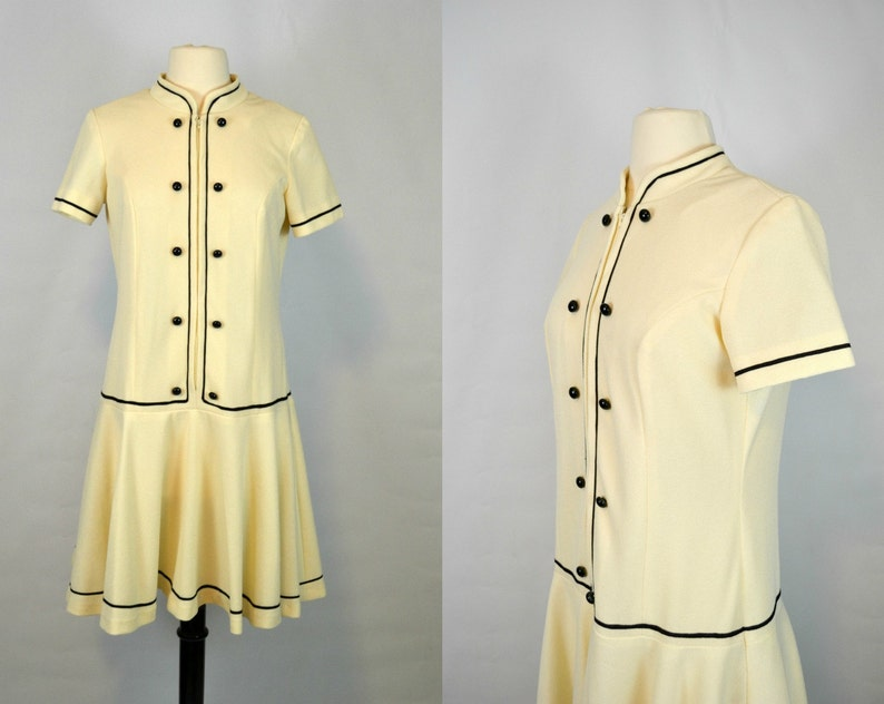 1960s Ivory Drop Waist Short Sleeve Dress by Trends by Jerrie image 0