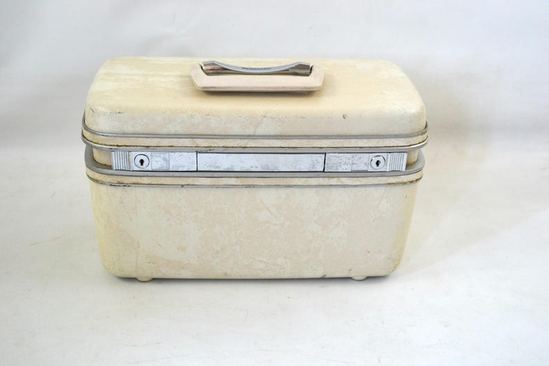Vintage White and Beige Marbled Hard Shell Train Case by image 0