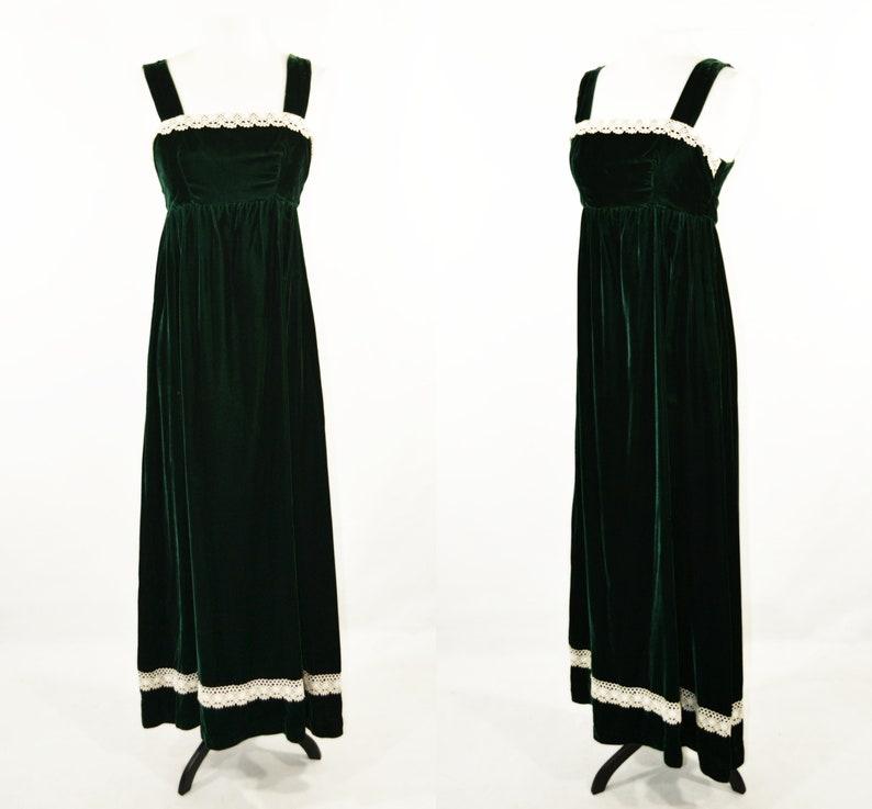 1970s Forest Green Velvet Sleeveless Maxi Dress image 0