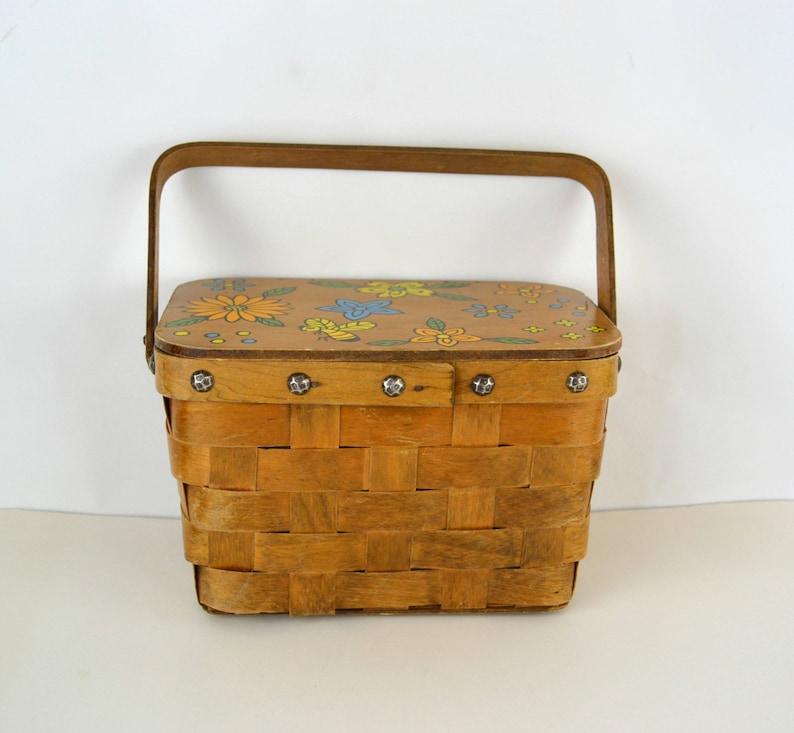 1970s Hand Painted Woven Picnic Basket Handbag by Gary Gail image 0