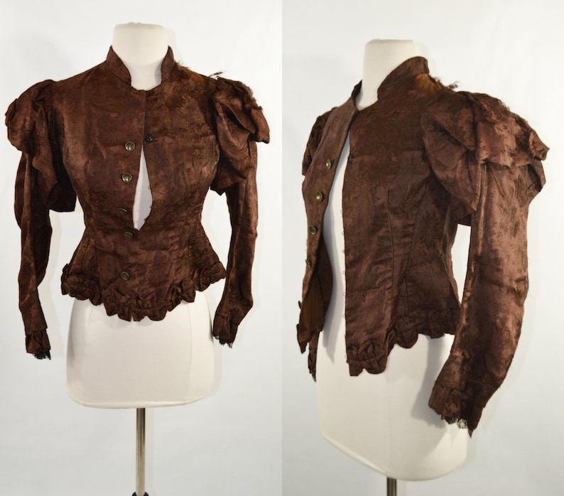 1880s/1890s Chestnut Brown Damask Victorian Waist Coat Estate image 0
