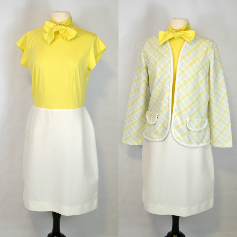 1970s Yellow Bodice and White Skirt Dress and Striped Jacket image 0