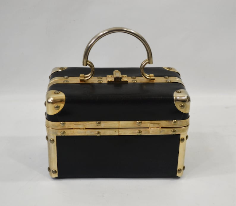 1960s Black and Gold Box Handbag by Fleurette of Miami Make image 0