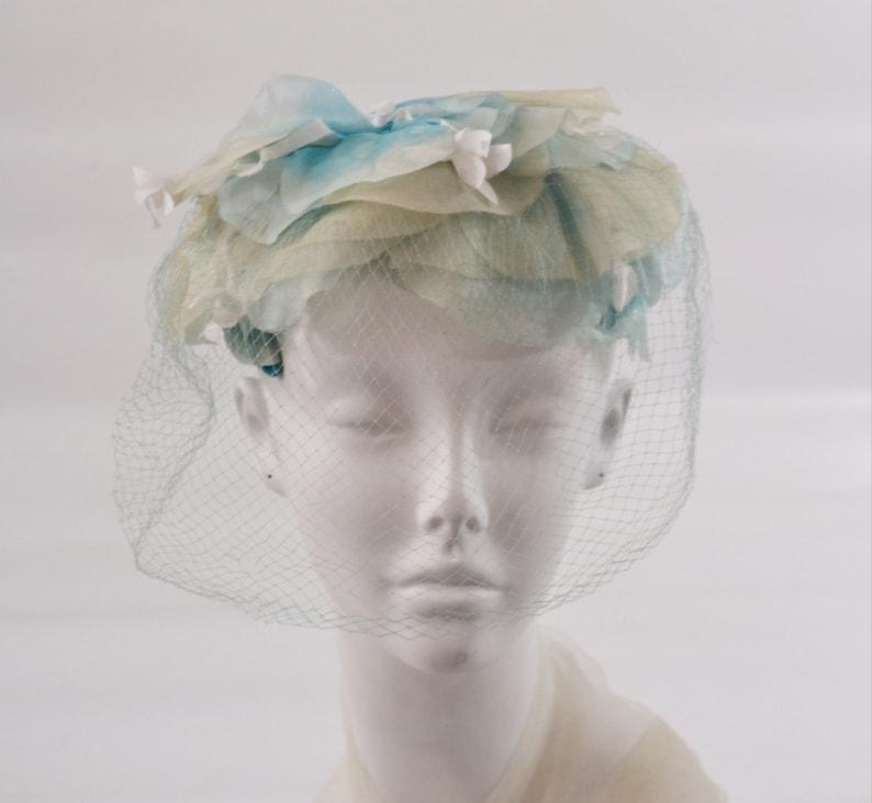 1960s Pale Blue and Ivory Large Flower Petals Fascinator Hat image 0