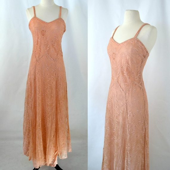 1930s Peach  Lace Prom Dress, Alternative Wedding,