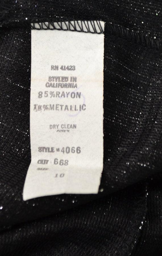 1970s Black and Silver Lurex Metallic Wide Leg Pa… - image 8