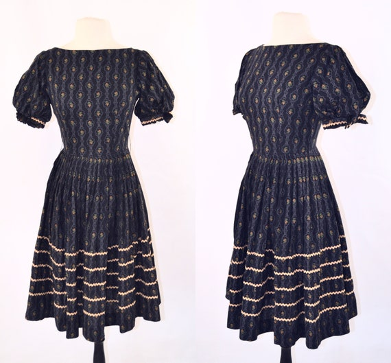 1950s/1960s Black Fit and Flare Dress with Purple