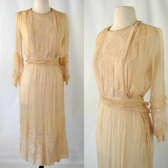 Antike Elfenbein Musselin Kleid Tee luftiges Kleid braucht   Etsy