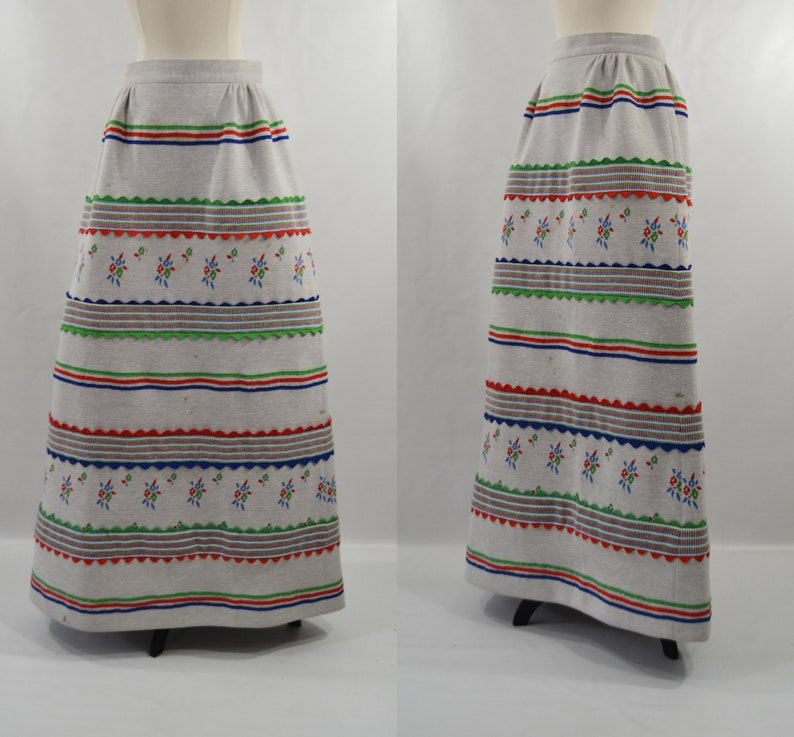 1970s Gray Maxi Skirt by HBW Needs TLC image 0