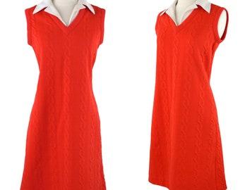 1960s/1970s Red Orange Cable Knit Design Sleeveless Shift/Sack Dress, MOD Dress
