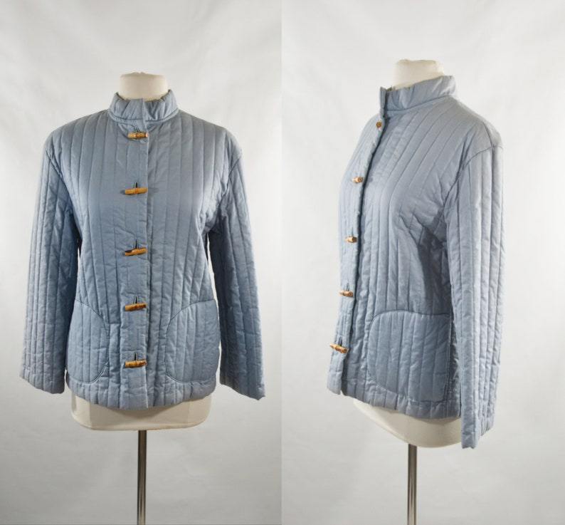 1980s Cornflower Blue Quilted Jacket with Bamboo Buttons by image 0