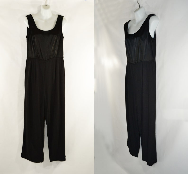 1980s/1990s Black Satin and Rayon Dressy Jumpsuit by RJ Co image 0