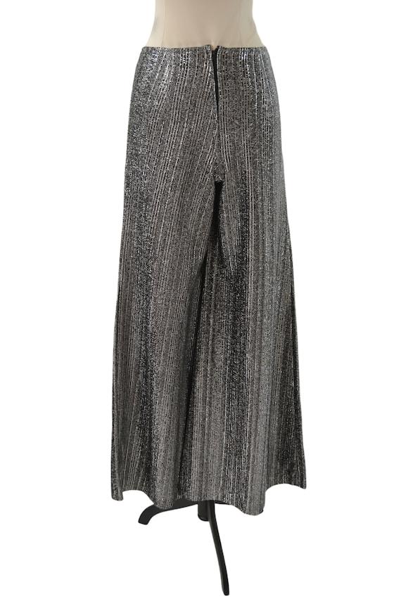 1970s Black and Silver Lurex Metallic Wide Leg Pa… - image 2