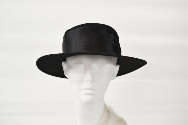 1980s Black Wool Ladies Fedora by Amanda Smith NOS Size 7 image 0
