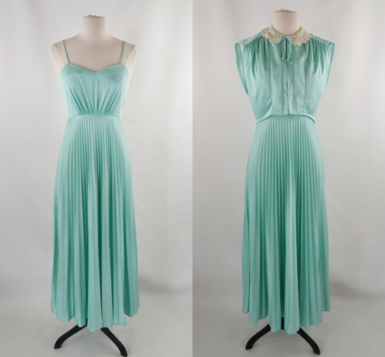 1970s Pistachio/Mint Green High Waist Spaghetti Strap Dress image 0