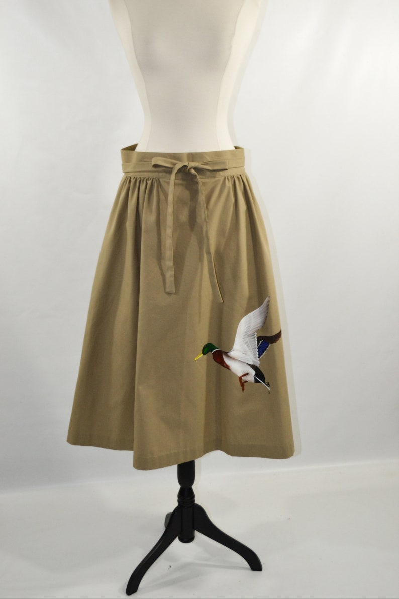 Vintage Tan/Beige Wrap Skirt with Hand Painted Mallard Drake image 0