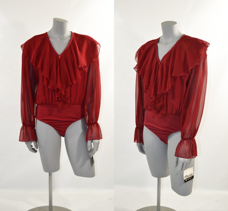 1990s NOS Cranberry Red Ruffled Bodysuit by Marnie West image 0