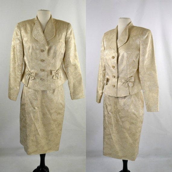 1980s Gold Lame Metallic Brocade Fitted Jacket and