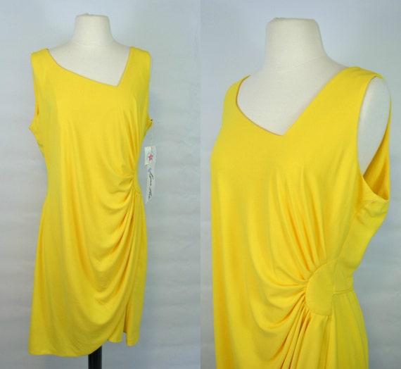 1970s NOS Bright Yellow Sleeveless Sheath Dress by