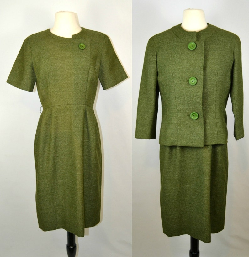 1950s/1960s Green Tweed Dress and Jacket by Armand Hallenstein image 0