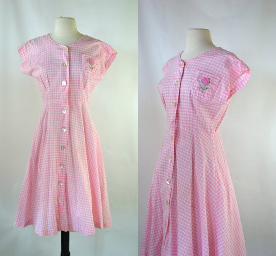 1950s/1960s Pink and White Gingham Sleeveless Shir