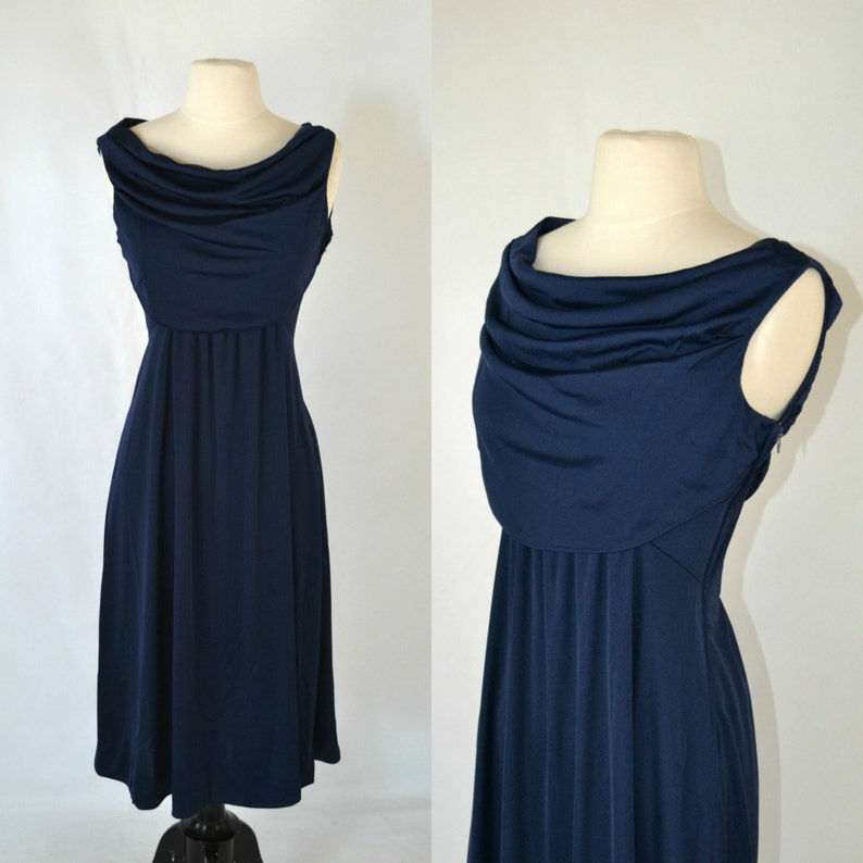 1970s Dark Blue Cowl Collar Sleeveless Dress by Casual Corner image 0