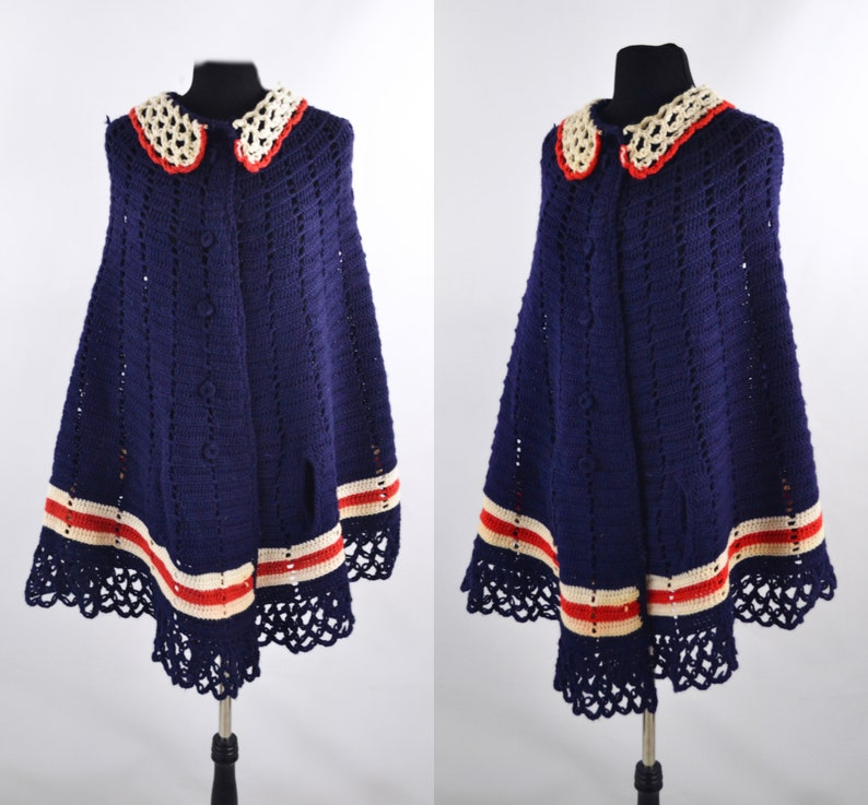 1970s Red White and Blue Knit Bicentennial Cape/Shawl image 0