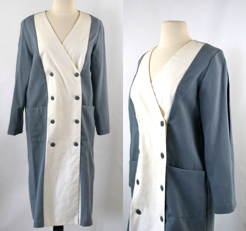1980s Grey and White Color Block Sheath/Shift Dress by John image 0