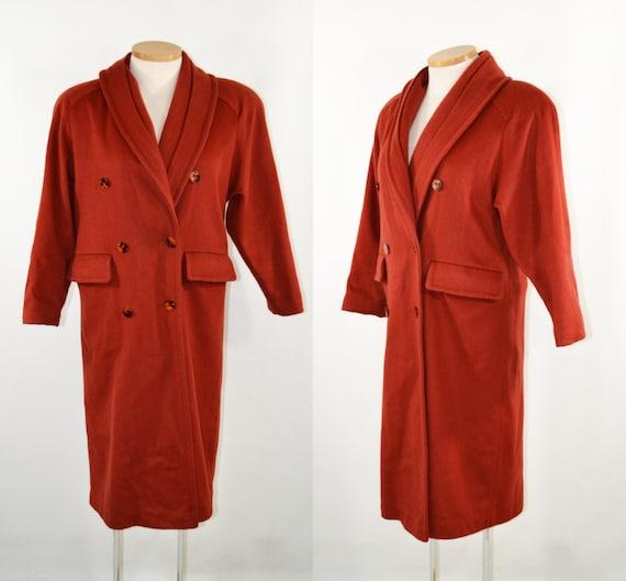 1970s Burnt Orange Double Breasted Wool Winter Coa