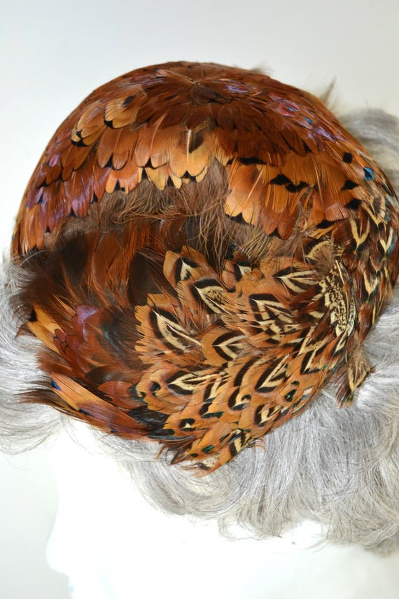 1950s Natural Colored Feathered Fascinator Hat, H… - image 9