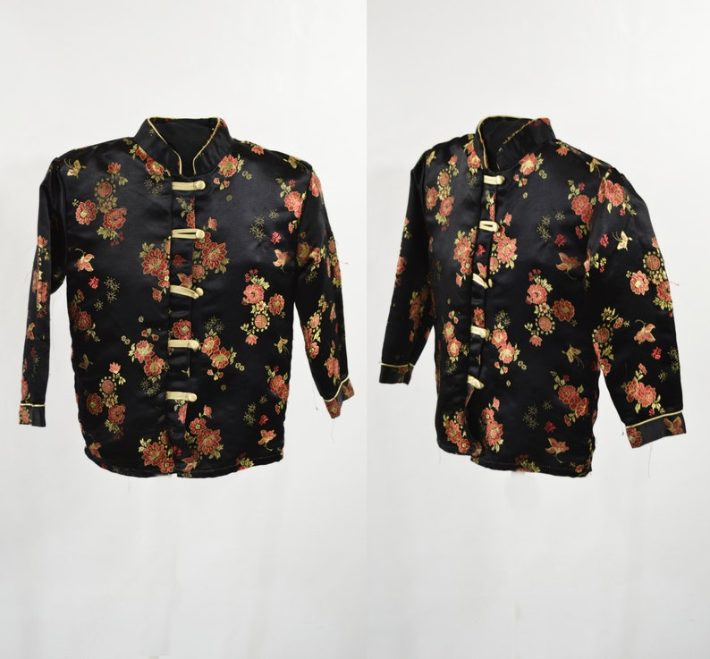 1980s/1990s Kids Black Red and Gold Kimono/Cheongsam Top by image 0