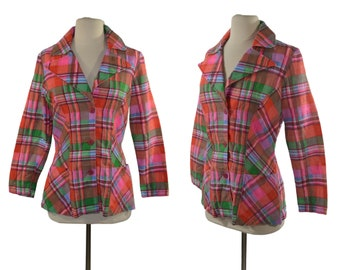 1970s Jewel Tone Plaid Fitted Blazer, Lightweight Colorful Plaid Jacket, Size Small