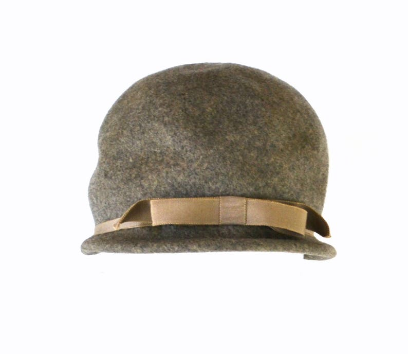 1950s/1960s Dark Gray Felted Wool Cloche Hat by Henry Pollak image 0