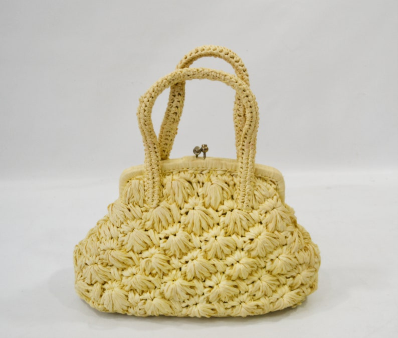1960s Pale Yellow Raffia Straw Purse by Adoria image 0