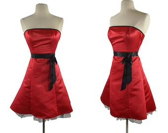 1990s Lipstick Red and Black Satin Strapless Dress by Jessica McClintock for Gunne Sax