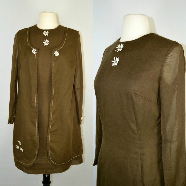 1960s Brown Mini Dress and Duster Vest Jacket Set by E'n C image 0