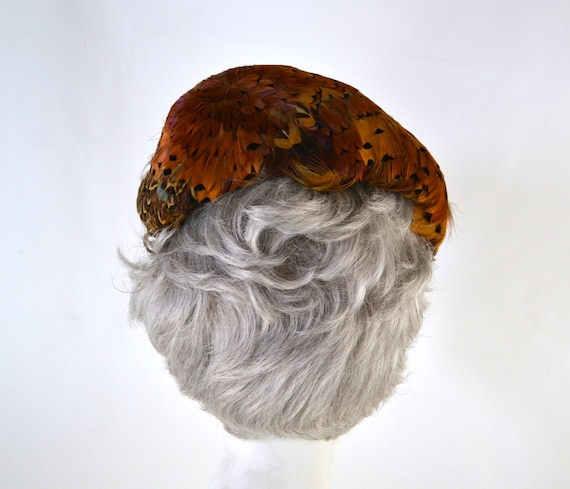 1950s Natural Colored Feathered Fascinator Hat, H… - image 6