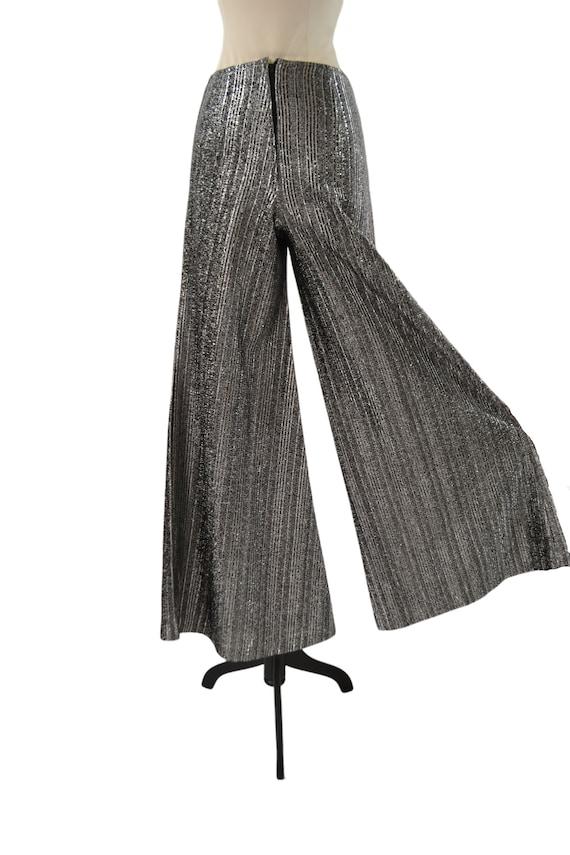 1970s Black and Silver Lurex Metallic Wide Leg Pa… - image 7