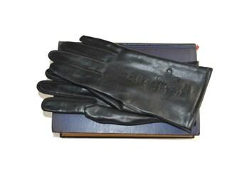 Vintage Black Vinyl Wrist Length Driving Gloves, Winter Gloves, Lined Gloves