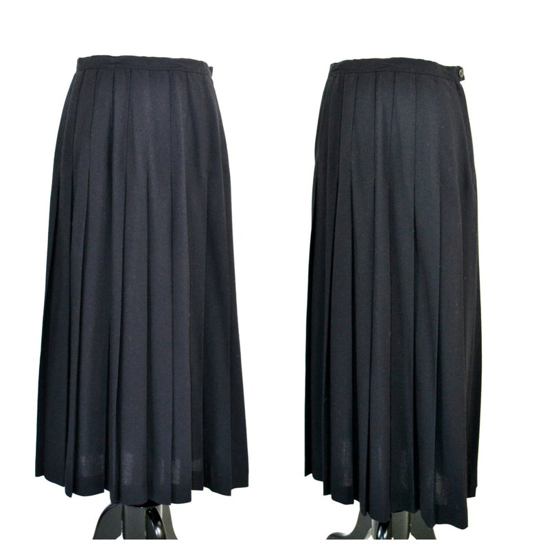 1980s Black Knife Pleat A-Line Skirt by Briggs Knee Length image 0